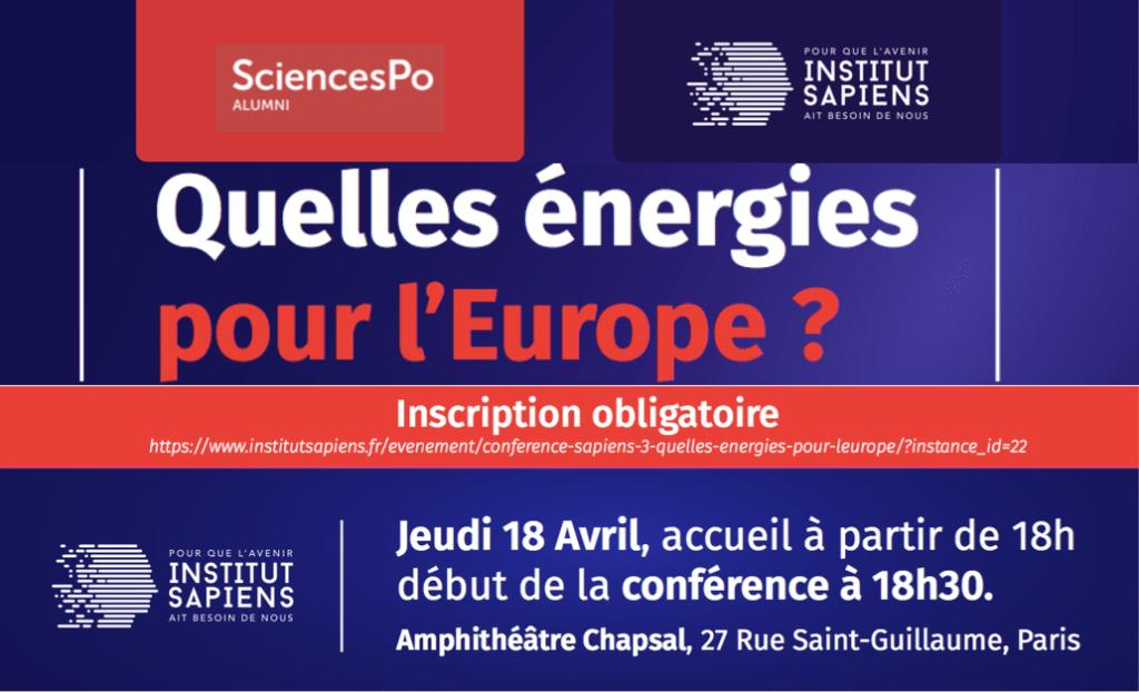 Conférence Sapiens #3 – « Quelles énergies pour l'Europe ? »